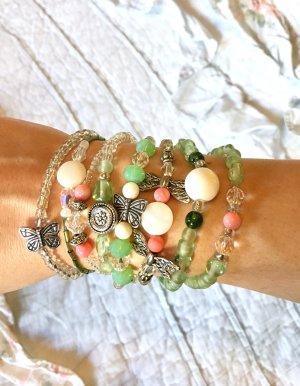 Armband Set 8 teilig dehnbar Boho Hippie grün silber weiß