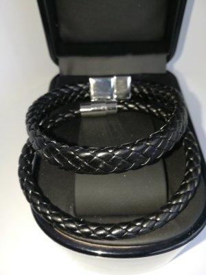 Armband Set aus geflochten schwarz Lederband für Damen/Herren