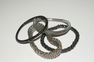 Armband Set in Silber Schwarz Tönen