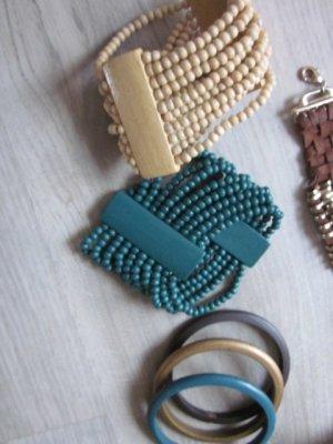 Armband Set verschiedene Reifen, Leder, Stoff, Perlen