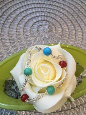 Armband Silber 925 mit Achat und Karneol Perlen, Handarbeit, Modeschmuck, Top!