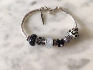 Braccialetto in argento nero-grigio chiaro