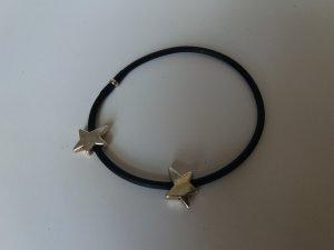 Armband * Sterne * schwarz silber * Kunstleder