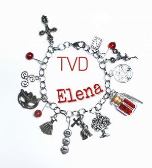 "Armband ""The Vampire Diaries"" neu Elena Stefan Damon diy handgemacht handmade rot Perle silber"