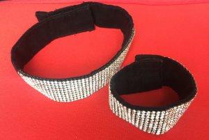 Bracelet black-silver-colored polyester