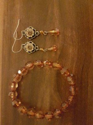 Armband und Ohrringe in Braun