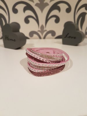 Armband, Wickelarmband mit Strass, rosa, Neu