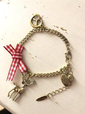 Armband zum Dirndl Tracht Reh Herz Breze gold rot karrierte Schleife