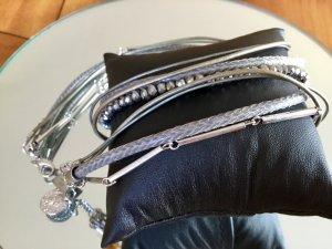 Armband zum Wickeln in grau und silber