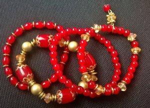Armbandset 4-tlg. rot-gold perlen dehnbar