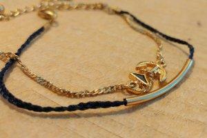 Armbandset in dunkelblau und gold