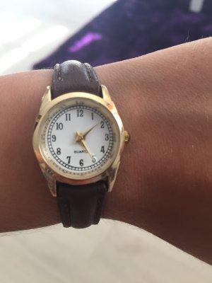 Horloge met lederen riempje veelkleurig