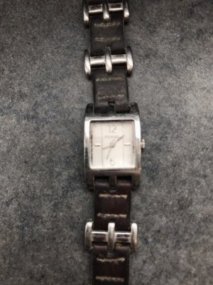 Fossil Horloge met lederen riempje zilver-bruin