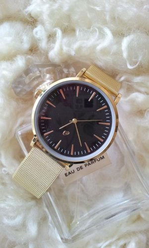 Watch With Metal Strap gold-colored-black stainless steel