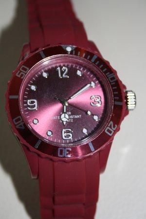 Armbanduhr bordeaux (Kautschuk) Gummi, wasserdicht bis 5 bar / NEU!