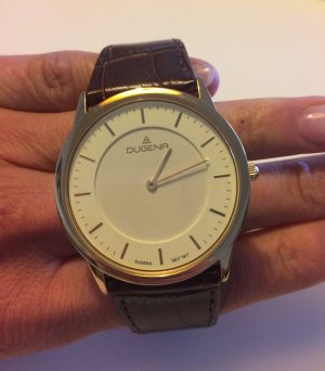 Dugena Horloge met lederen riempje bruin-goud