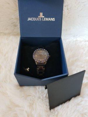 Jacques Lemans Horloge met metalen riempje zwart-donkerpaars
