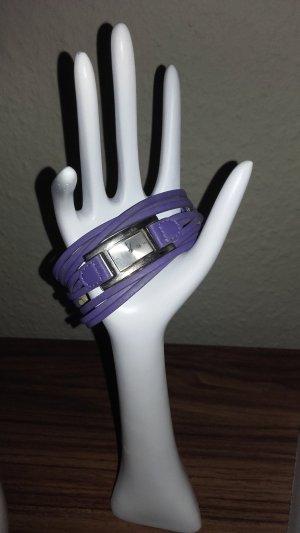 Armbanduhr lila silber