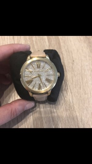 Michael Kors Watch With Leather Strap gold-colored-nude