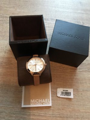 Michael Kors Watch With Leather Strap beige-gold-colored leather