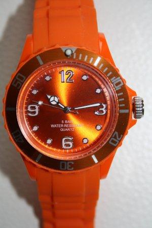 Armbanduhr orange (Kautschuk) Gummi, wasserdicht bis 5 bar, NEU!