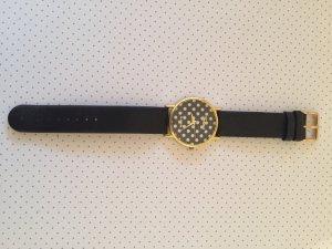 Armbanduhr Punkte schwarz Gold weiß