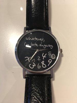 Armbanduhr schwarz silber