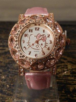 Armbanduhr Uhr Damenuhr Mädchenuhr - Hello Kitty - Strass - gold pink - Neu