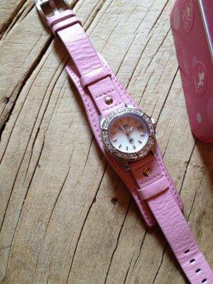 Armbanduhr Uhr Lederarmband rosa Perlmutt Fossil Edelstahl