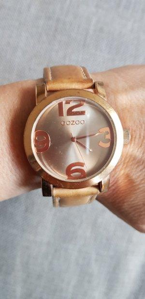 Oozoo Montre avec bracelet en cuir or rose-brun