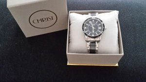 Christ Watch With Metal Strap black-silver-colored stainless steel