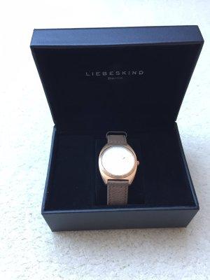 Liebeskind Berlin Orologio con cinturino di pelle color oro rosa-marrone chiaro