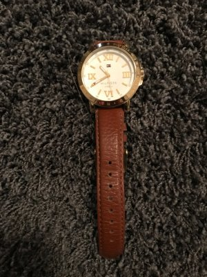 Tommy Hilfiger Watch With Leather Strap gold-colored-brown