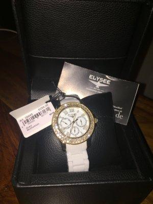 Horloge wit-goud kunststof