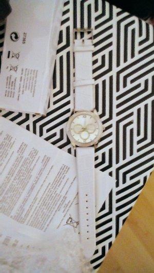 Horloge met lederen riempje wit-zilver