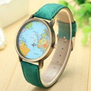 Armbanduhr Welt grün bunt bronze mit Flugzeug als Sekundenzeiger