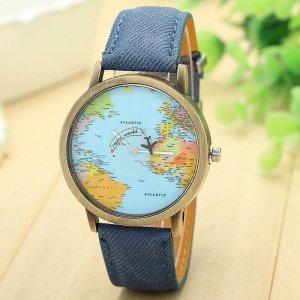 Armbanduhr Weltkarte blau mit Flugzeug als Sekundenzeiger
