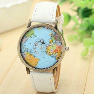 Armbanduhr Weltkarte mit Flugzeug als Sekundenanzeiger weiß