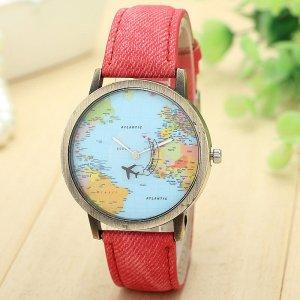 Armbanduhr Weltkarte mit Flugzeug als Sekundenzeiger rot