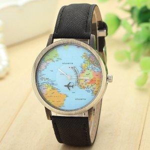 Armbanduhr Weltkarte mit Flugzeug als Sekundenzeiger schwarz