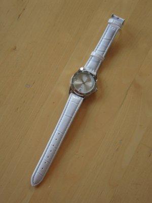 Armbanduhr YVES ROCHER weiss / silber mit Strasssteinen
