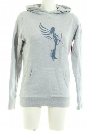 armedangels Pull à capuche gris clair-bleu moucheté style décontracté