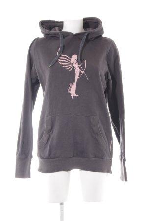 armedangels Hooded Sweatshirt anthracite themed print casual look
