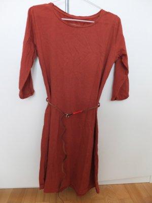Armedangels Kleid rostrot mit Ledergürtel