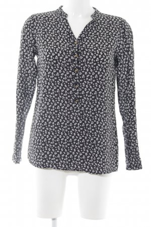 armedangels Kurzarm-Bluse schwarz-weiß Blumenmuster Business-Look