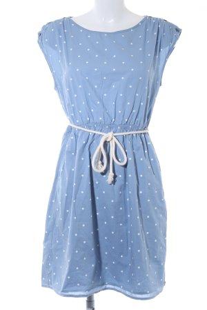 armedangels Kurzarmkleid kornblumenblau-weiß Punktemuster Casual-Look