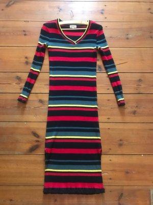 Armedangels langes Kleid/ Strick-Optik, gestreift, rot-blau-schwarz-gelb, Gr. s/ 34/ 36