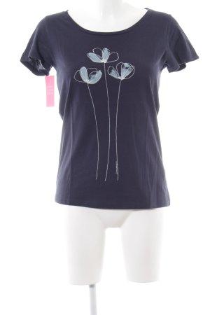 armedangels Print-Shirt blau-weiß Blumenmuster Casual-Look