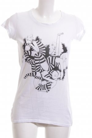 armedangels T-Shirt white-black themed print street-fashion look