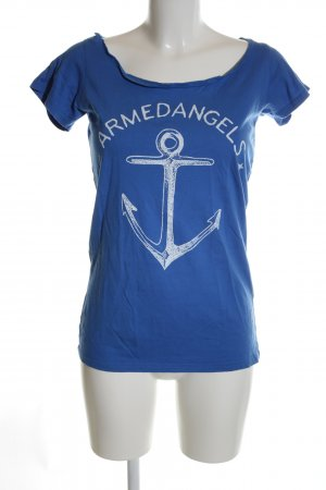 armedangels T-Shirt blue-white themed print casual look